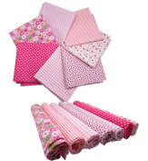 """levylisa 19.7"""" x 19.7"""" 7pcs Fabric Bundles Flower Printed Cotton Fabric Pink Series Different Pattern Comfortable Patchwork Fabric Home Textile Material Cloth for DIY Sewing"""