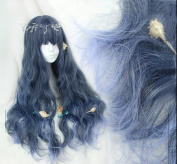 Sweat Lolita Christmas Mint Deep Blue Colour T Light Blue Colour Ombre Wig Dark Root Curly Fluffy Full Hair Natural Party Daily Hair With Wig Cap