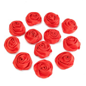 KINGSO Satin Ribbon Fabric Rose Flowers Wedding Applique Bouquet Hair Bow Headbands DIY Craft Pack of 12 Red