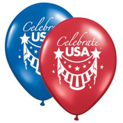 Qualatex Celebrate USA Assorted 28cm Latex Balloons, Red White Blue, 12 CT