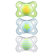 MAM Clear 3 Piece Orthodontic Pacifier, Boy, 0-6 Months
