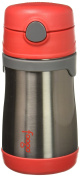 THERMOS FOOGO Vacuum Insulated Stainless Steel 300ml Straw Bottle, Red/Grey