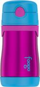 Thermos FOOGO Vacuum Insulated Stainless Steel 300ml Straw Bottle, Aubergine/Blue