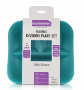 NEW! Kiddiebites MADE IN THE USA - 2 pack -100% SILICONE PLATES for Kids, Children, Babies, Toddlers, BPA Free, FLEXIBLE DIVIDED PLATE SET , Microwave & Dishwasher Safe