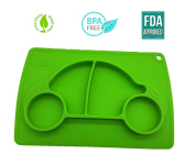 Baby Plates, Silicone, Kids, Toddlers Place Mats, Full Size, Solid Feeding Plate Set, FDA Approved, BPA Free, Non Slip Placemats Suctions on Table, Child Eats and Enjoys