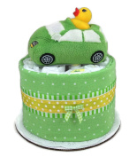 Baby Shower Mini Nappy Cake or Centrepiece with Pampers Swaddlers Nappies and a Green Car