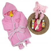 Sunshine Gift Baskets - Baby Bath Time Gift Set - Baby Bath Robe, and Slippers (Pink) with Burt's Bees Shampoo and Lotion