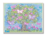 The Kids Room by Stupell Pastel Butterfly Tree Rectangle Wall Plaque
