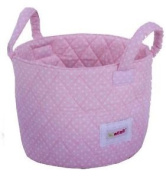 Minene Small Pink With White Dots Fabric Storage Basket Organiser With Handles 1