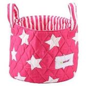 Minene Small Fuchsia & white Stars Fabric Storage Basket Organiser With Handles 18