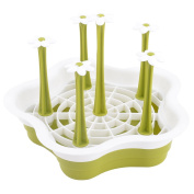 sourcingmap® Plastic Household Kitchen Round Detachable Bottle Glass Cup Drying Tray Holder Green