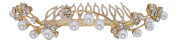 Pick A Gem Gold Plated Crystal and Pearl Swirl Hair Comb Wedding Hair Accessories