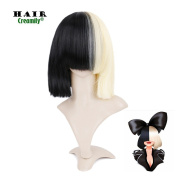 Creamily Two Tones Straight Hair Cosplay Wig Black and Blonde Synthetic Hair