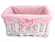 Newborn Baby GIRL Gift Basket / Baby Hamper / New Arrival / Baby Shower WHITE WICKER Gift Basket - PINK / WHITE Gingham Lined - for SMALL items - 25.5cm