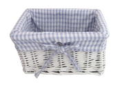 Newborn Baby BOY Gift Basket / Baby Hamper / New Arrival / Baby Shower WHITE WICKER Gift Basket - BLUE / WHITE Gingham Lined - for SMALL items - 25.5cm