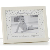 Glitter Dot Christening Frame Cream 15x10