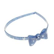 Women Girls Lovely Denim Headband embellished with Stars Hearts - Denim