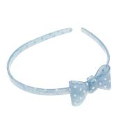 Women Girls Lovely Denim Headband embellished with Stars Hearts - Light Denim