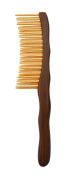 Meta-C Double Row Teeth Comb/Brush – Natural Green Sandal Wood Handle + Natural Phyllostachys Pubescens/Bamboo Teeth – High-Grade Massage Comb/Brush With Aromatic Smell