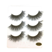 Beauty Top 3 Pairs Long False Eyelashes Makeup Natural Fake Thick Black Eye Lashes