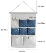 Wall Pocket Storage Hanger, Navy Style With Polka Dots / Space Saving And