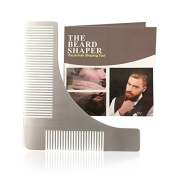 MoGuYun Beard Shaping Tool and Beard Styling Template Comb, Lightweight and Flexible - One Size Fits All Cuts, Steel Beard Shaper for Men