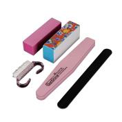 Bodhi2000 5Pcs Pro Manicure Nail Care Tools Kit Nail Files Buffer Block Brush Nail Art Accessories Set