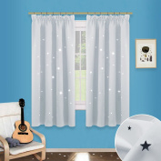 Hollow Star Blackout Curtains Panels - PONYDANCE Night Sleep Cut Out Decor Twinkle Star Pencil Pleat Curtains for Bedroom / Thermal Insulated & Light Reducing, 2 Pcs, Width 120cm by Depth 140cm , Greyish-white