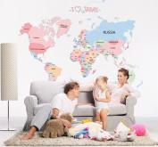 KiKa Monkey Early Education Cartoon Alphabet English World Map Removable Vinyl Decal Art Mural Bedroom Wall Stickers