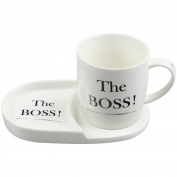 The Boss Tea Coffee Cup Mug Coaster Plate Snack Breakfast Serving Dining Set New