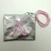 Girls Ballet Shoe Purse with 3 Pink Hair Elastics