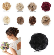ShowPower Darling with Extensions Curly Bun Hairstyle Updos High to add volume Scrunchy Pony Tail Piece High Quality Different Colours Black 630/1#/27