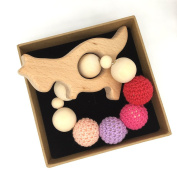 Coskiss Crochet Bead Teething Ring Set Untreated Maple Teether with Organic Wood Toy Wood Kangaraoo Bracelet Baby Mom Kids Wooden Teether Bangle