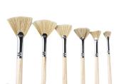Artist Paint brushes Oil Professional Fan Brush Hog Hair Paintbrush Set-Long handle.