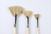 Oil Acrylic Paint Brushes Artist Fan Paint Brush Set Hog Bristle Long Handle Painting Brush.
