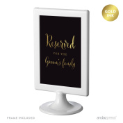 Andaz Press Wedding Framed Party Signs, Black and Metallic Gold Ink, 10cm x 15cm , Reserved for the Groom's Family, Double-Sided, 1-Pack, Includes Frame