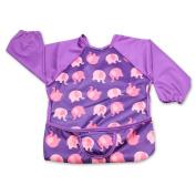 Luxja Baby Waterproof Sleeved Bib, Long Sleeve Bib for Toddler (6-24 Months), Pink Elephant