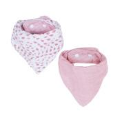 Bebe au Lait Muslin Bandana Bib Set, Rose Quartz & Petal
