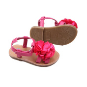 Baby Infant Girls Sandals Zerowin Pink Big Flowers Breathable Pu Leather Sandals Summer Shoes for 3-18 months