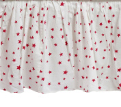 Zack & Tara Crib Skirt - Stars in Cerise on White