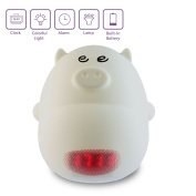 Umiwe Cute Silicone Cartoon Night Light with Alarm Clock Funcation for Kids -3 Sounds, 7 Colours, Tap Control, Temperature Display