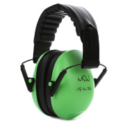 Kids Noise Cancelling Ear Muffs, Children's Fold-able Hearing Protection Ear Defenders from Toddler to Teen, Green
