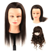 Mannequin Head 100% Real Human Hair for Cosmetology Training with Free Clamp Holder 41cm Dark Brown