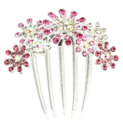 JOVANA Multiple Flowers Pattern Rhinestone Tuck Comb Hair Pin Hair Clip