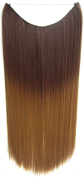 Flip In Synthetic Heat Resistance Dip Dye Straight Hair Extension Secret Miracle Two Tone Hair Wire 60cm No Clip 50g 1pc