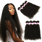Mink Hair Virgin Brazilian Kinky Curly Hair 4 Bundles 18 20 22 24 Unprocessed Deep Curly Weave Human Hair Extensions Natural Colour Can Be Dyed and Bleached