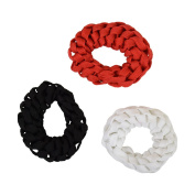 Set of 3 Braided Hair Scrunchies Pony Holders for Women and Girls - White Red Black