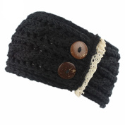 Hunputa Womens Crochet Winter Warm Buttons Knitted Braided Knit Wool Ear Warmer Hat Cap Headband Hair Band