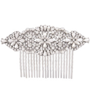 Fairy Moda Long Crystal Floral Bridal Wedding Hair Comb Silver Tone for Women