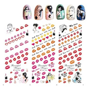 KADS Manicure special HOT series nail nails Lips lipstick kiss a woman love-1 Pack 3 design